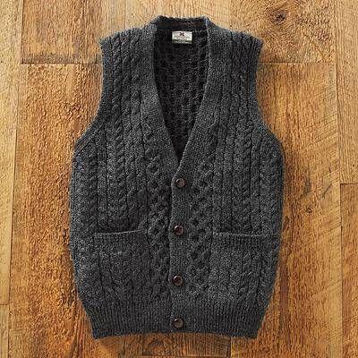 Men S Wool Sweater Vest Road To Donegal Irish Sweater Wool Sweater Men Sweater Vest