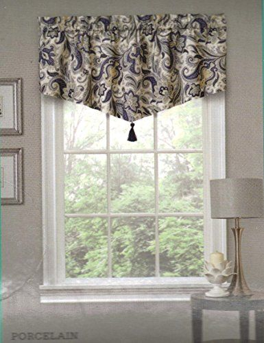 Traditions By Waverly Rustic Retreat Ascot Valance Colour Pocelain Waverly Valances Valance Rustic Retreat