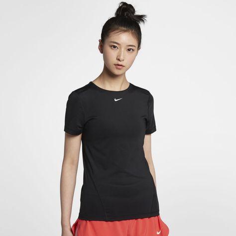Nike Pro Women's Short-sleeve Mesh Training Top In Black