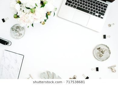 Flat Lay Home Office Desk Frame With Space For Text Female Workspace With Laptop White Peony Flowers Bouquet Acces Home Office Desks Flatlay Feminine Office