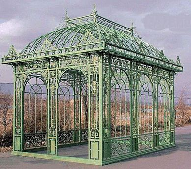 Displayed As A Room Setting In The Gallery Was This Monumental Gazebo Victorian Style Comprising Cast Iron Wrought And Tubular Steel