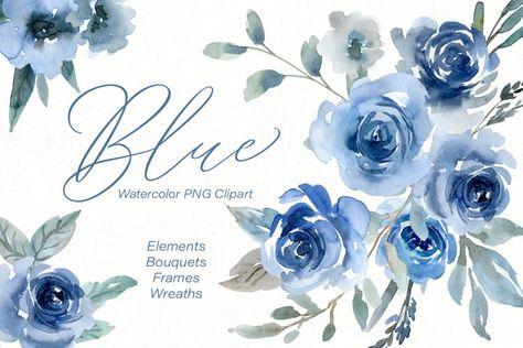Blue Watercolor Flowers Roses, Bouquets, Frames, Wreaths (211844)   Illustrations   Design Bundles