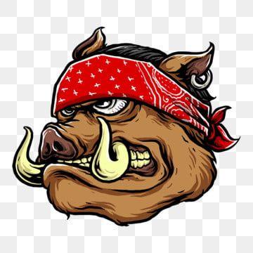 Gambar Sesuai Untuk Motorcycle Club Logo Atau Barang Dagangan Bentuk Vektor Babi Hutan Atau Kepala Babi Dengan Gaya Bikers Dengan Bandana Dan Basikal Sebahagian Red Bandana Gangster Pig