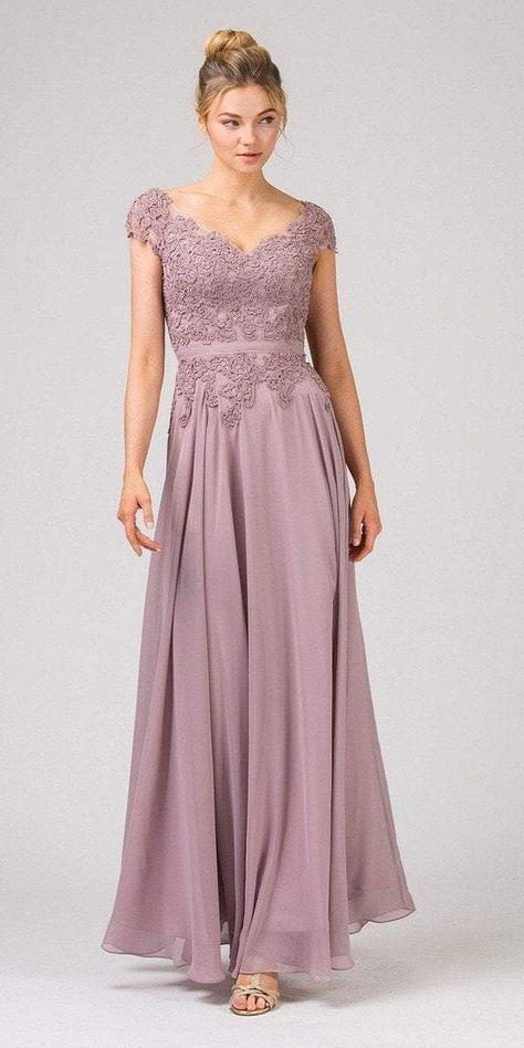 Eureka Fashion - 8611 Embroidered V-neck Chiffon A-line Gown ...