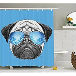 Pug Shower Curtain Pug Portrait With Mirror Sunglasses Hand Drawn