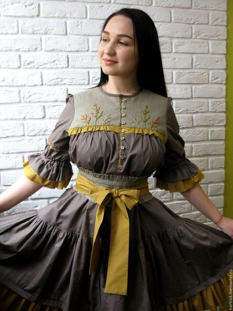 a524018d3d8 Платья ручной работы. Ярмарка Мастеров - ручная работа. Купить Платье летнее  из хлопка с вышивкой. Handmade. Хаки