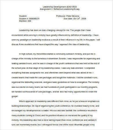 Leadership Essay 7 Free Sample Example Format Download Reflective