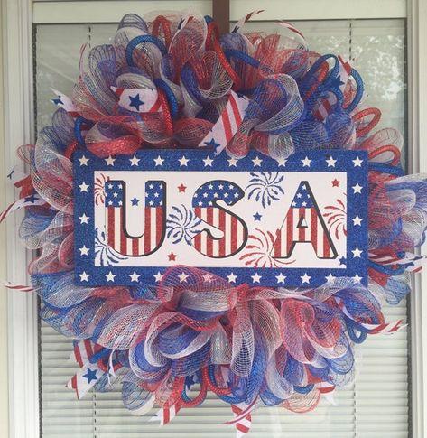 1402fcd6 Fourth of July Flag Deco Mesh Wreath