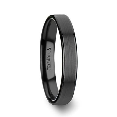 Thorsten Aston Black Brushed Center Tungsten Carbide Ring with Polished Beveled Edges 8mm Width from Roy Rose Jewelry