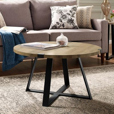 Rustic Oak Metal Wrap Round Coffee Table In 2020 Round Coffee