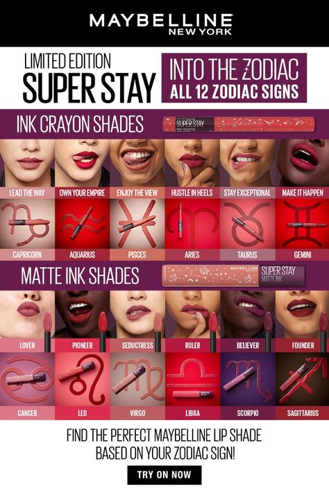 Something astrological has LANDED! Introducing Super Stay Into the Zodiac, a limited-edition collection that matches 12 of your favorite Matte Ink and Ink Crayon shades to a star sign. This Formula has same superpowered performance you can expect from Matte Ink and Ink Crayon! Longwear and intense color, now with a little cosmic energy. From Capricorn's Lead the Way to Sagittarius' Founder— Super Stay Into The Zodiac compliments every astrological mood. Tap this pin to find your zodiac shade!