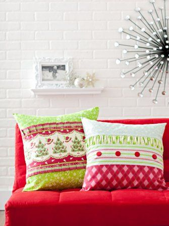 Pleats and ruching dress up a festive pair of Christmas-theme pillows just in time for a season of good cheer.