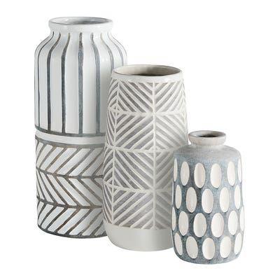 Carved Gray White Ceramic Vases In 2020 White Ceramic Vases