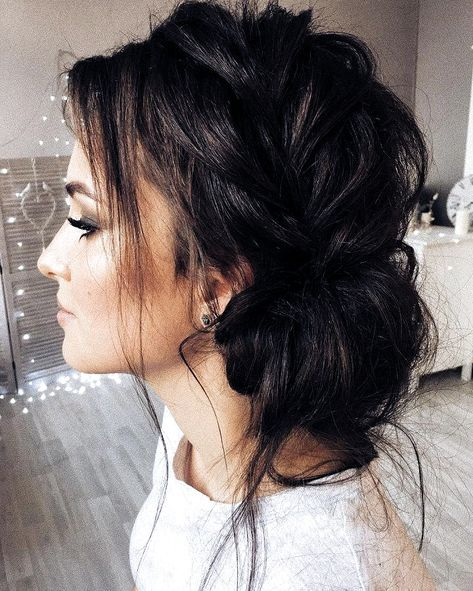12 Amazing Updo Ideas for Women with Short Hair - Best Hairstyle Ideas #sidebraidhairstyles Beautiful updo with side braid wedding hairstyle for romantic bridess. Get inspired by this braid updo bridal hairstyle,loose updo messy wedding hairstyles #weddingbraids