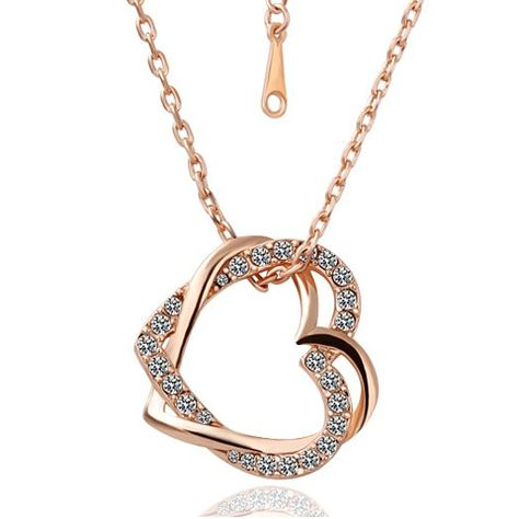 Ever seen the beauty of two hearts intertwined? Fall in love with this intricate piece adding just the right amount of sophisticated glam to your everyday look. Personalize you double heart crystal necklace with an assortment of metal tones including: rose gold paired with silver crystals or classic silver tones. We see you simply radiating in this piece! Highlights Pendant size: 2.6 X 2.5 cm Chain length: 50 cm Weight: 10 grams