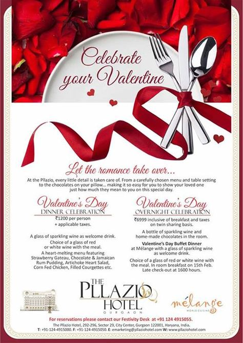 Love is in the air, the misty ambiance brings in a spattering of romance as we inch towards the day of love...Valentine's Day.   Let romance takeover and celebrate this special day of love at The Pllazio Hotel, Gurgaon where we take care of every detail and help us make your loved one realize just how much they mean to you!