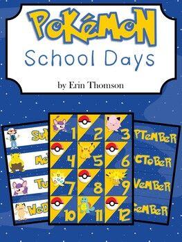 Pokemon School Days Editable Calendar Pieces School Calendar