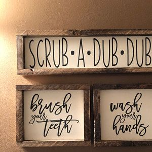 home decor bathroom signs.htm wash your hands brush your teeth signs  wall decor  shelf decor  wash your hands brush your teeth signs