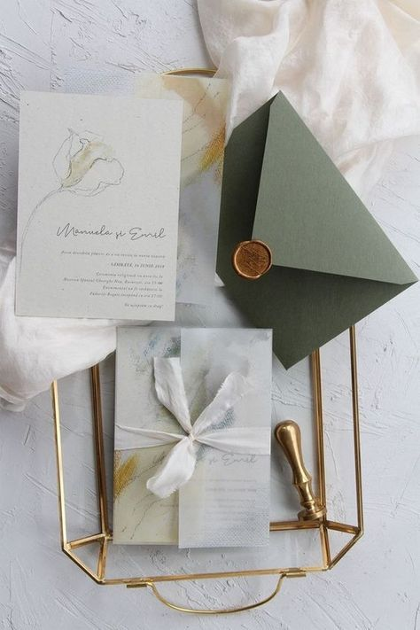 creative sage green modern wedding invitations