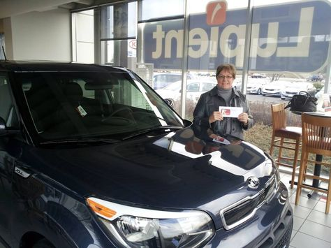 Here Is Linda S From Brooklyn Park Picking Up Her Brand New Fathom Blue 2014 Kia Soul That She Bought From Jahmar Lauderdale Brooklyn Park Kia Automotive Group