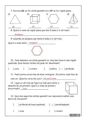 Solidos Geometricos Com Imagens Atividades De Geometria