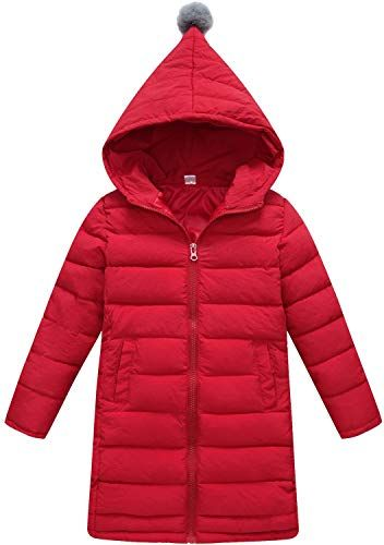 Happy childhood Girls Fur Hooded Down Jacket Winter Warm Solid Outwear Thicken Coat Mid Long Snowsuit Latest