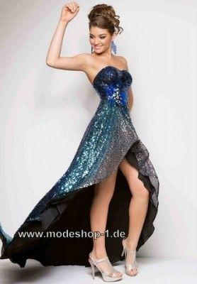 Glanzendes Vokuhila Abendkleid 2019 Vorne Kurz Hinten Lang In Blau