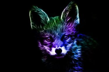 Fractalius Shadow Fox By Minimoo64 Animal Art Fox Painting Fractal Art