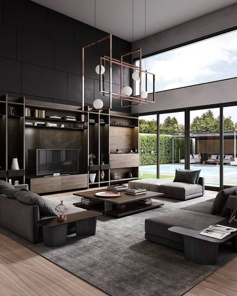 Incredible living room with bold designs and modern interiors. The dark tones give it a spark of style and elegance. -...