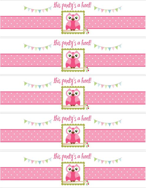 owl water bottle labels and printables