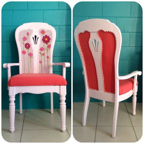 Funky upholstery. Chalk paint furniture. Cross stitch cane. Three sisters design https://m.facebook.com/story.php?story_fbid=698698380202248substory_index=0id=473017196103702