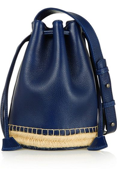 jute-trimmed textured-leather bucket bag