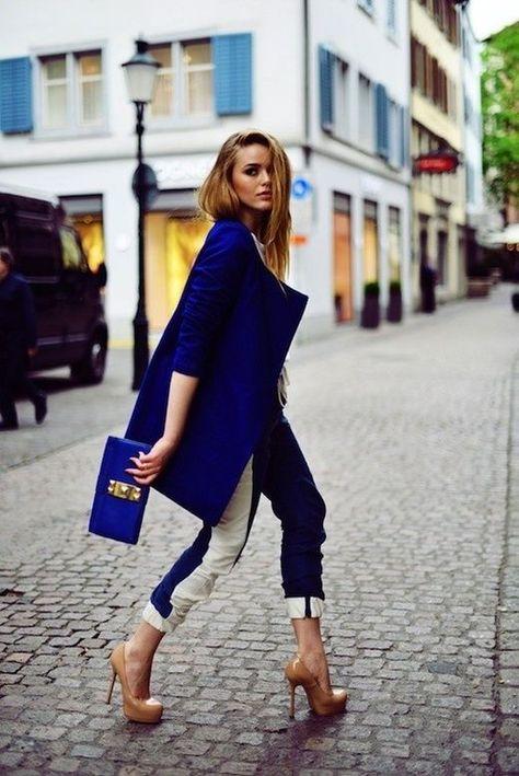 manteau hiver feme bleu edf Comment porter le manteau dhiver bleu ? 9 belles idées de look à copier tout de suite