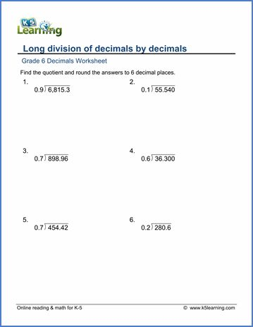 Klass 6 Matematicheskih Listov Desyatichnoe Dlinnoe Delenie K5 Learning Grade 6 Math Worksheets Math Worksheets Math Decimals