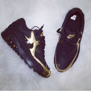 online retailer 2c774 80ff9 Nike Air Max 90 Black Gold Shoes Made with SWAROVSKI® Crystals
