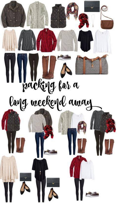 So packen Sie ein langes Wochenende weg · Miss in the Midwest, Weekend Getaway Outfits, Vacation Outfits, Girls Weekend Outfits, Weekend Packing List, Packing Tips, Weekend Fashion, Travel Outfits, Weekend Style, Weekend Wear