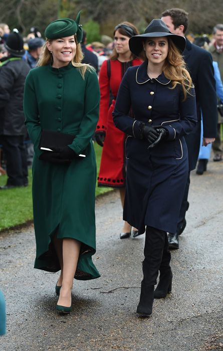 a23ed87d Autumn Phillips and Princess Beatrice walked together to the church,  closely followed by Princess Eugenie and her husband Jack Brooksbank.