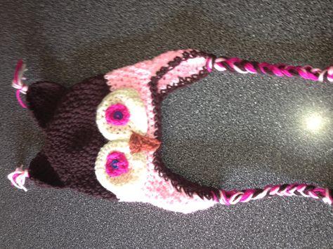 Crocheted owl kids hat