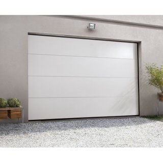 Porte De Garage Sectionnelle Motorisee Artens Essentiel H 200 X L 240 Cm Porte De Garage Sectionnelle Porte Garage Garage