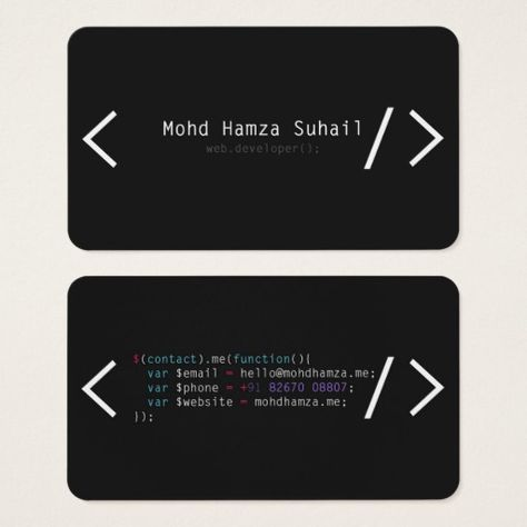 Business Card For Web Developers