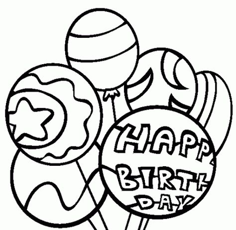 happy birthday balloons coloring pages (With images