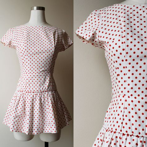 1960s White & Red Polka Dot Short Sleeve Peplum Top with Bow