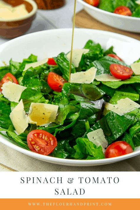 Make this easy spinach salad for a low stress dinner side. #easydinnerside #quicksalad #weeknighsalad #sidedish #salad #spinachsalad #spinach #theflourhandprint