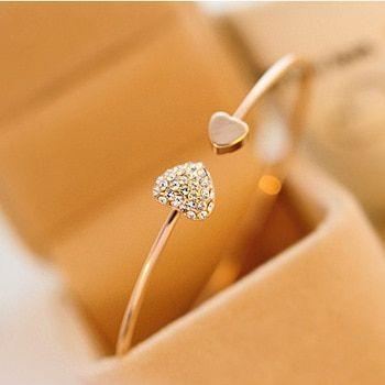 Fashion Femmes Charme Peach Heart Bracelet Jonc Manchette Plaqué Argent Bracelets le