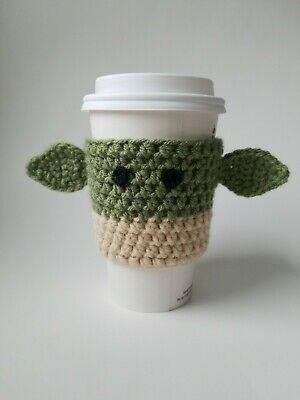 Handmade Crochet Baby Yoda Coffee Cup Cozy Baby Yoda Cup Sleeve