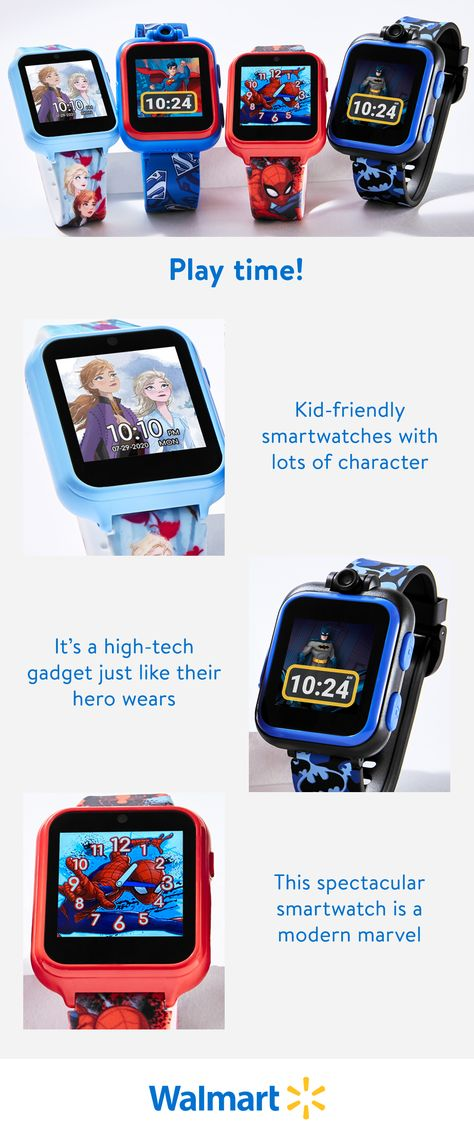 Fun, colorful, and a great value. These watches featuring your child's favorite characters from comics, cartoons, and movies are available now at Walmart.