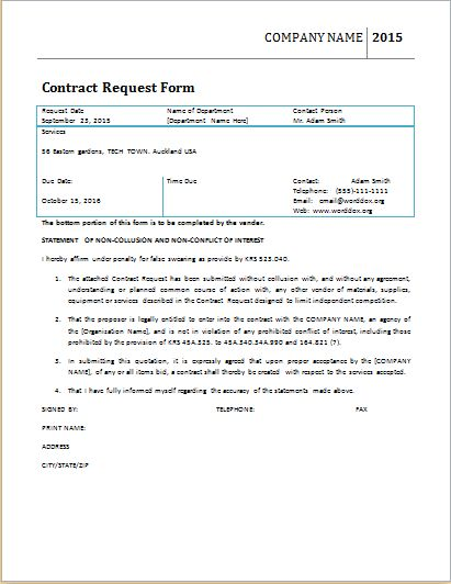 Contract Request Form Template At WorddoxOrg  Microsoft