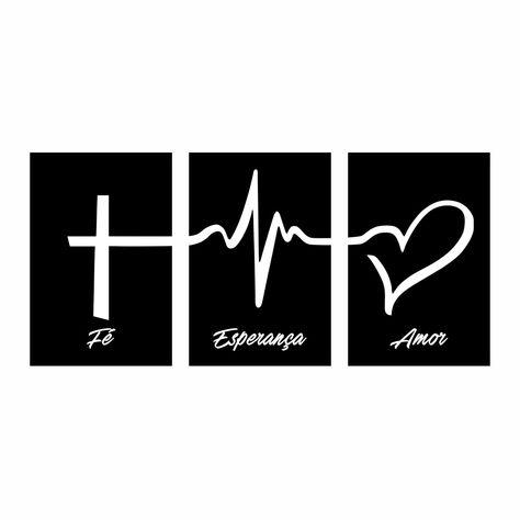 Quadro Fé, Esperança e Amor - Preto - Kit de 3 Telas Retangulares