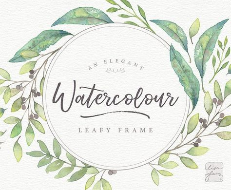 watercolor floral frame hand painted leaf wreath clipart wedding