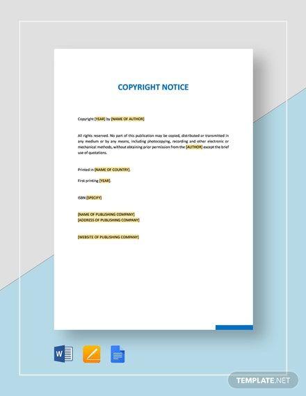 Sample Copyright Notice Template Free Pdf Google Docs Word Template Net Templates Word Doc Change Text